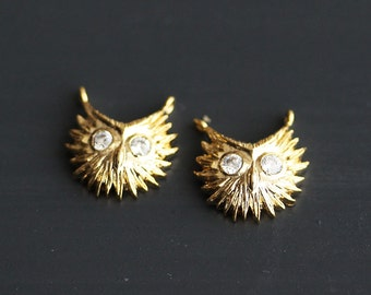 P1-293-G] Cz Owl / 12 x 13mm / Gold plated / Pendant / 2 piece(s)