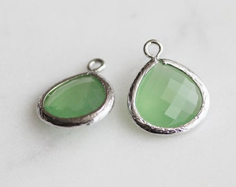 A2-002-R-SG] Spring Green / 13mm / Rhodium plated / Glass Pendant / 2 pieces