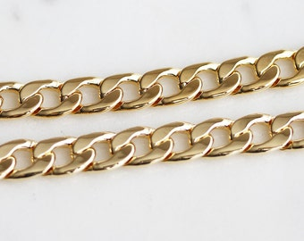 B5-92-G] Gold plated / 7.7mm / Curb Chain / 1 meter