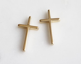 P1-851-G] Cross / 13 x 22mm / Gold plated / Pendant / 4 piece(s)