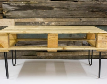 Recycled Pallet Wood Coffee Table, Industrial, Handmade item