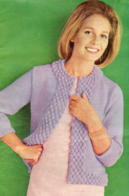 Knitting Pattern Bolero Jacket : Vintage Knitting Pattern PDF Ladies Bolero Jacket