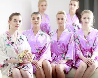 Bridesmaid Robes, Set of 13 Bridesmaid Satin Robes, Kimono Robe, Fast Shipping from New York, Regular and Plus Size Robe