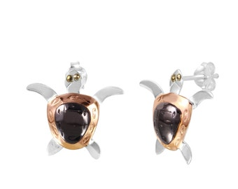 Earring tourtle silver 925 with rhodium,goldplated and rosegoldplated