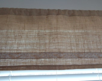 "Burlap Jute Kitchen Valance with Burlap Lace, 16.75"" x 38"" Wide, 2 inch Rod Pocket, No Header, Rustic, Country Curtain"