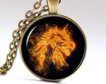 Eagle Pendant Bird Necklace Phoenix jewelry Fire Amulet LG063