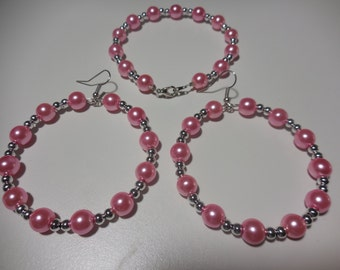 Pink and Silver Earrings and Bracelet