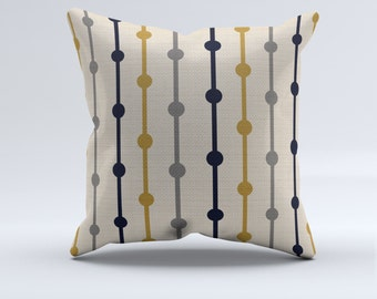 Blue, mustard, gray and creme throw pillow, throw pillow, modern pillow, Blue, mustard, creme, gray, home decor, bedroom pillow,
