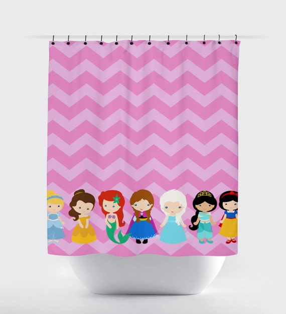 Quality fabric shower curtain pink chevron background shower curtains