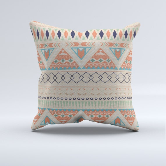 Blue Aztec Throw Pillows : Items similar to Coral, blue and white aztec throw pillow, throw pillow, modern pillow, coral ...
