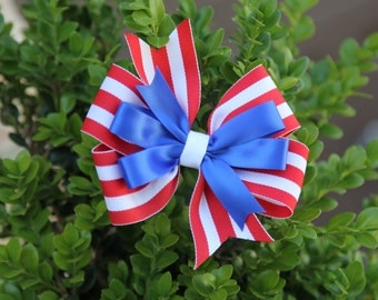 Red White and Blue pinwheel hair bow