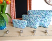 Blue Floral Printed Make Up Bag. 100% Cotton. Toiletries Bag. Wash Bag. 3 Sizes Available.