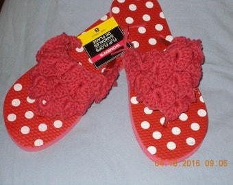 Red crochet on flip flops