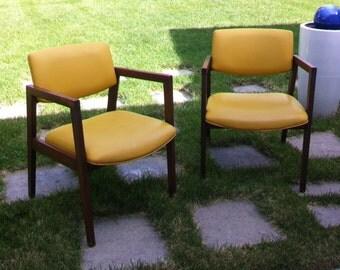 Set of Two Mid Century Modern Yellow Danish Style Arm Chairs Lounge ChairsVintage gunlocke chair   Etsy. Modern Yellow Lounge Chair. Home Design Ideas