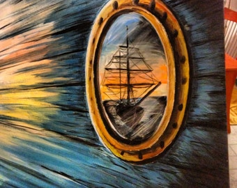 "Reflection in the Porthole- Original Acrylic Painting on 16X20"" canvas"