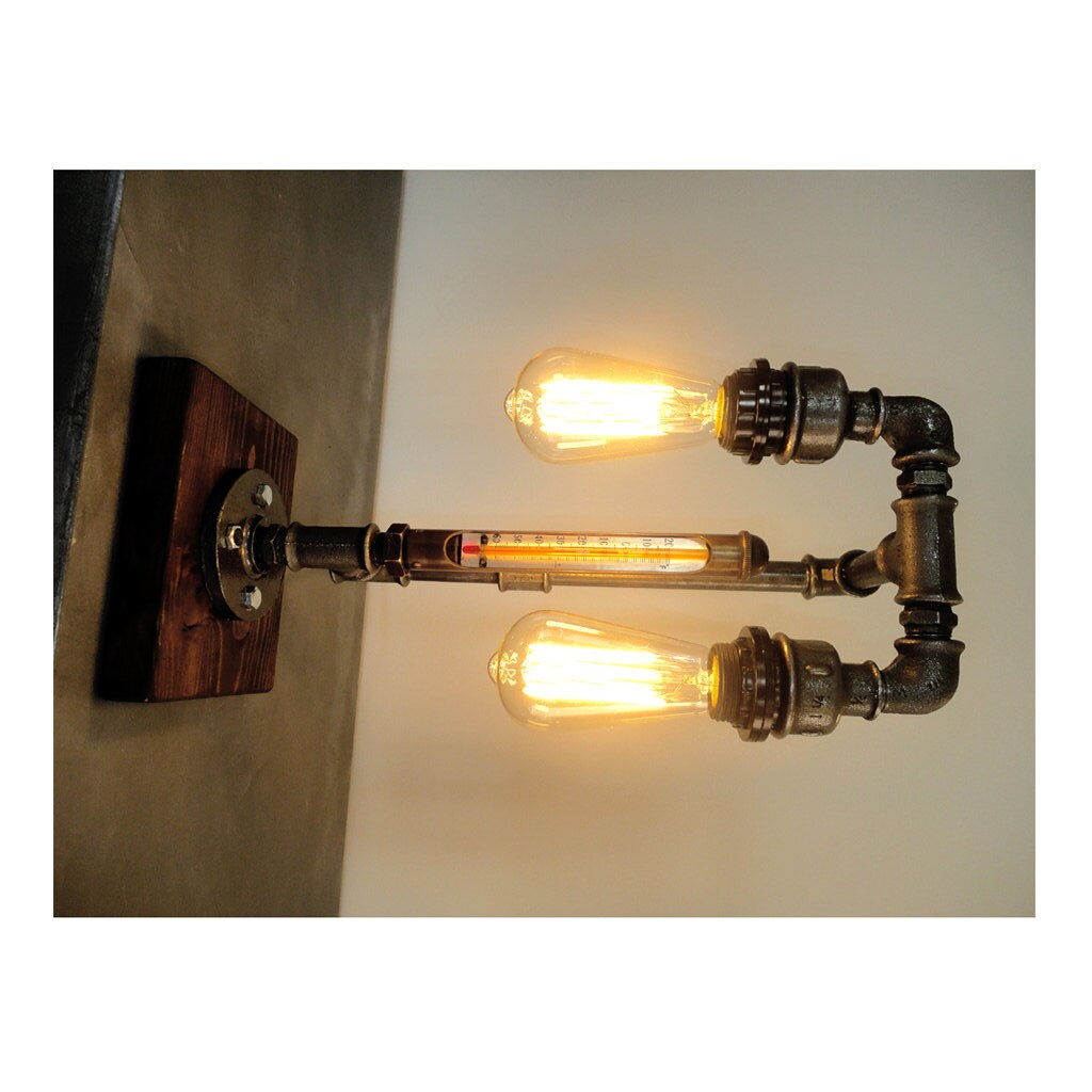 pipe style edison bulb industrial table lamp steam punk. Black Bedroom Furniture Sets. Home Design Ideas