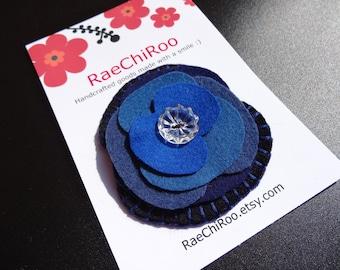 Blue felt poppy brooch