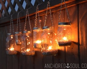 Mason Jar Lanterns Hanging Tea Light Luminaries - Set of 6 - Silver Chain - Regular Mouth Mason Jar Style