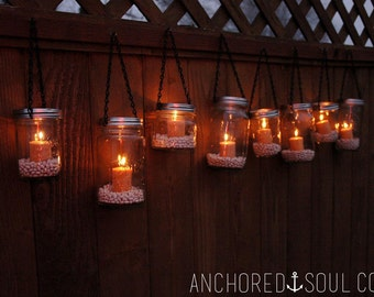 Mason Jar Hanging Outdoor Lantern Lights - Set of 10 - Includes Candles and Jar Filler
