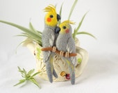 Cockatiel Birds brooch / love bird jewelry / animal pins / jungle bird jewelry / love couple jewelry / custom brooch gift for ornithologist