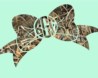 Bow Camo Monogram - Circle Script Initals; vinyl decals