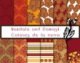 Mandala & Damask Earth. Scrapbooking. Digital paper. Fund. Album cuts.