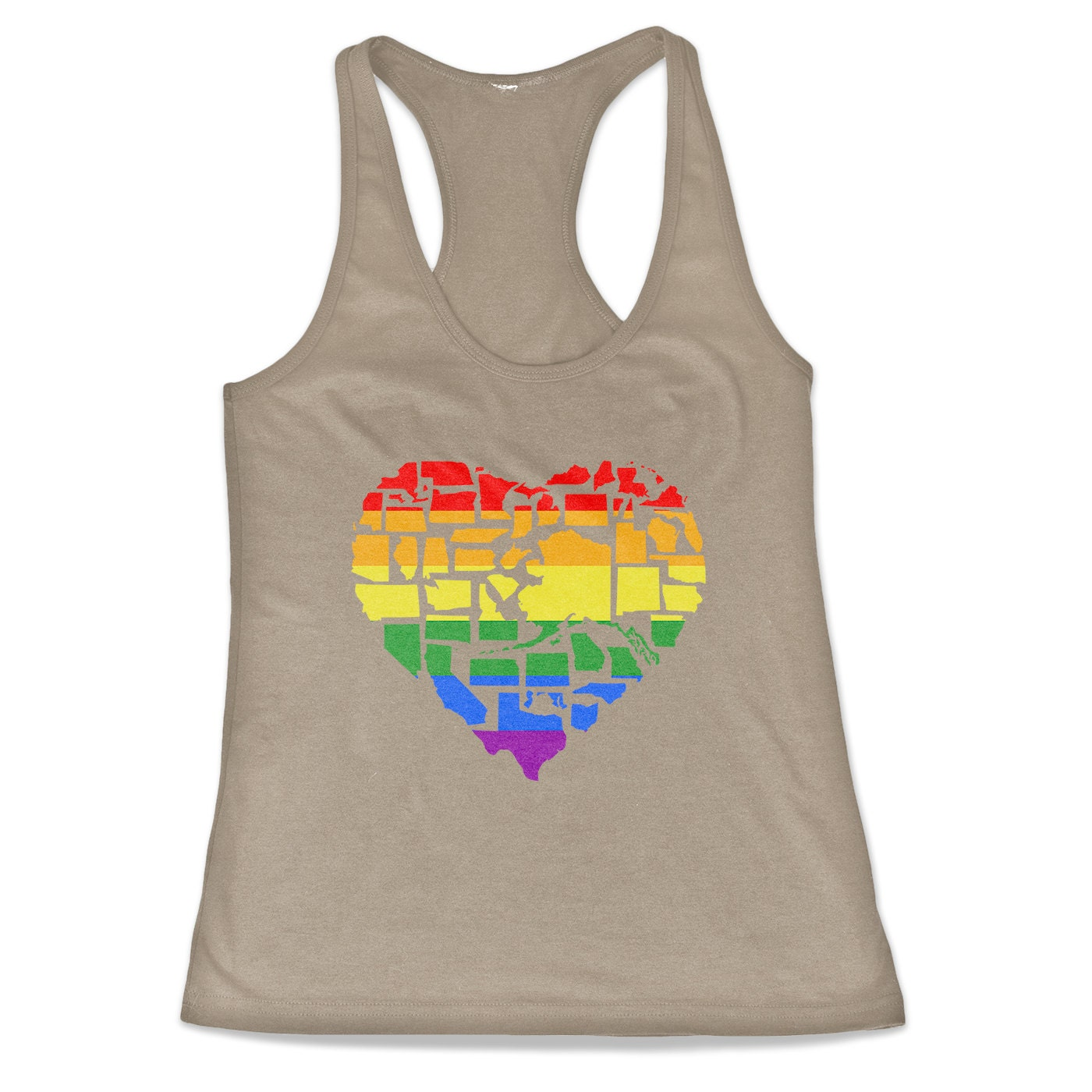 Marriage Equality Gay Pride in All 50 States Love Wins Tri-Blend Racerback Tank Top