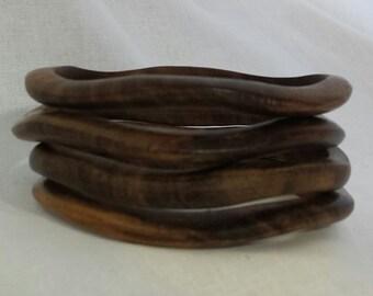 Hand Carved Wavy Wooden Bangle Bracelet
