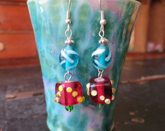 Playful, Blue and Pomegranate-Pink Dangle Earrings Made By Me