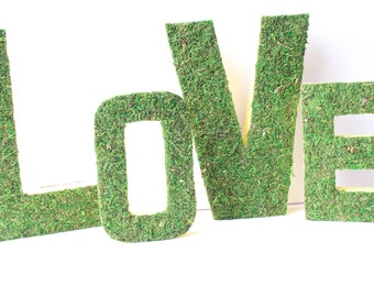 Moss Letters LOVE-Moss Wedding Decor-Wedding Sign-Paper Mache Letters-Woodland Wedding-Forest Wedding-Bridal Shower Decor-Decorative Letters