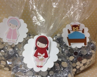 Red Riding Hood Party Candy or Favor Bags with Tags