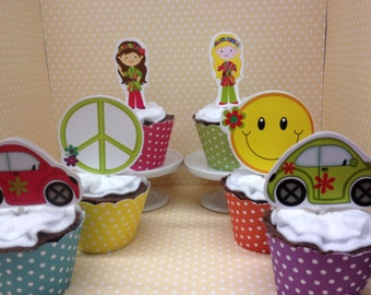 70's Hippie Party Cupcake Topper Decorations - Set of 10