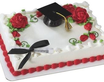 Black Graduation Cap with Tassel & Diploma Cake Topper Decoration Set