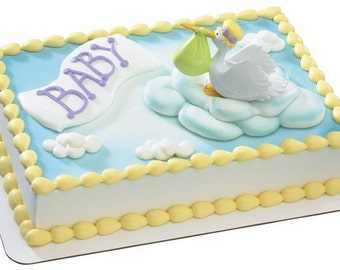 Special Delivery Stork Baby Shower Cake Topper Decoration