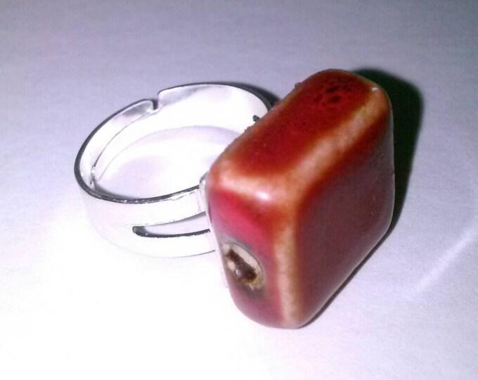 Maroon Marbel Stone Ring