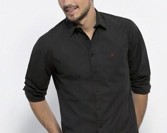Elegant Man shirt 100% organic cotton fair trade, Black Heart Embroidered