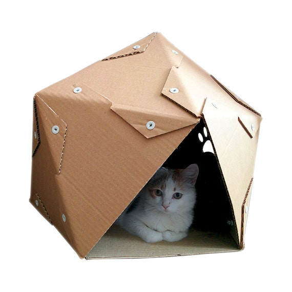 pentagon cardboard cat house cat furniture cat by. Black Bedroom Furniture Sets. Home Design Ideas