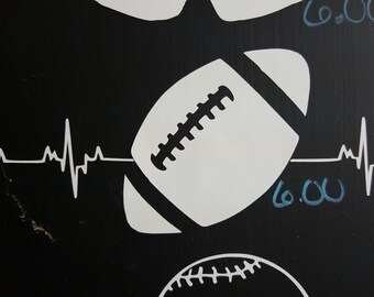 Football Heartbeat Decal