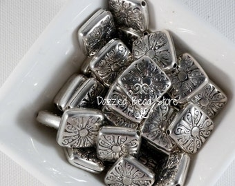 14mm square SILVER alloy bead FLOWER/SUN pattern