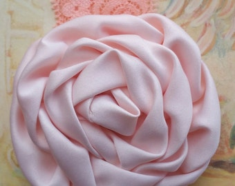Peach Satin and Lace Rosette Flower Headband