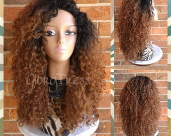 ON SALE  //Big Kinky Curly Half Wig, Ombre Wig, Beach Curly Afro Wig, African American Wig // AMAZING
