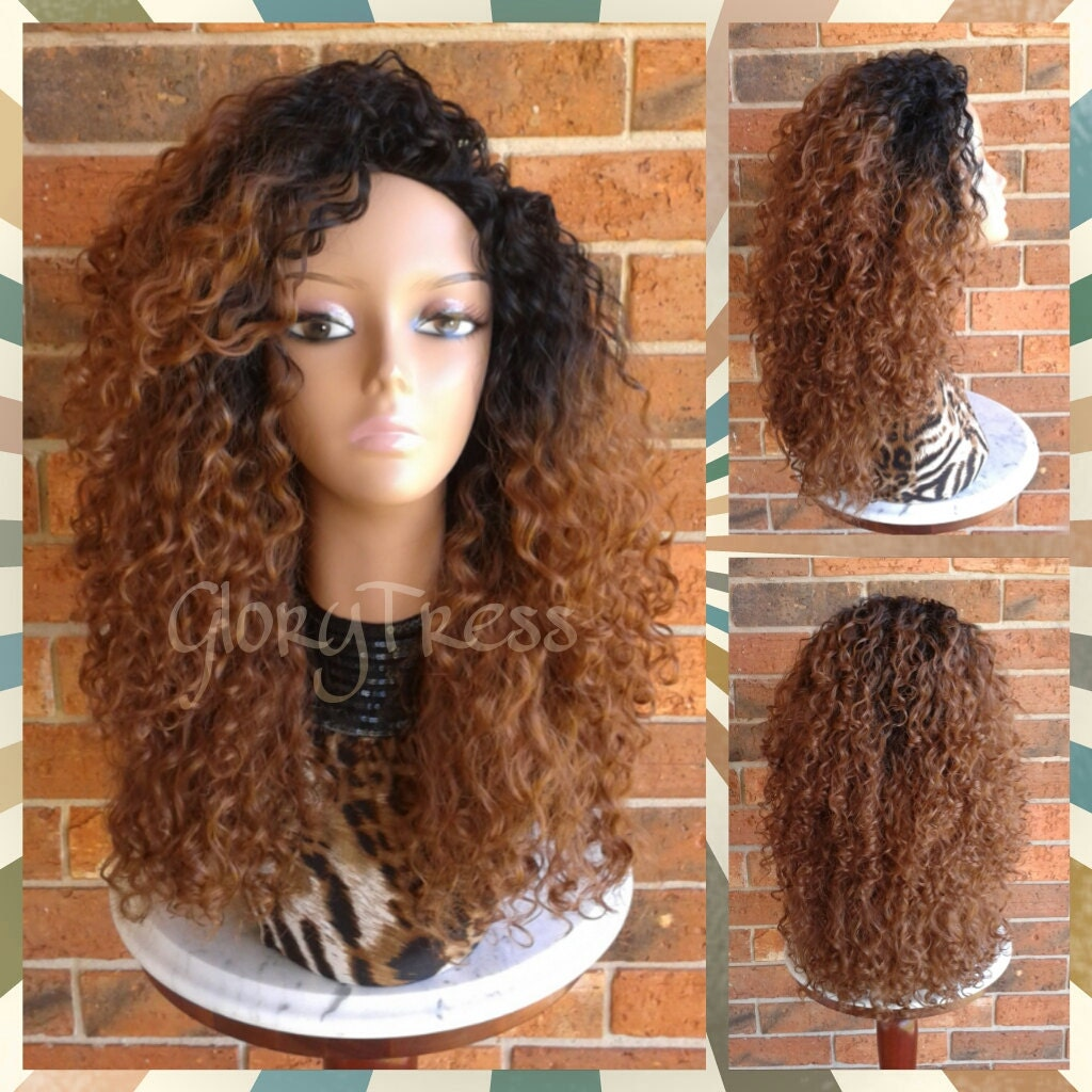 On Sale Big Kinky Curly Half Wig Ombre Wig Beach Curly