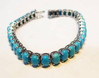 Natural  Marvelous 925 Sterling Silver Natural Turquoise Bracelet Handmade Design by Amorejewels