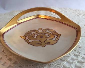 Hand Painted Czechoslovakia Dish Olive or Candy