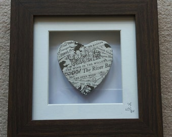 The Wind in the Willows Handcrafted Literary Heart - Kenneth Grahame - Literary Gifts - Literary Loves - Book Memories - Decoupage Heart
