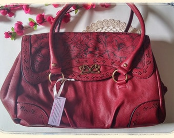Deep red shoulder handbag-upcycled-magnetic fastening-hand painted-beautiful floral design.