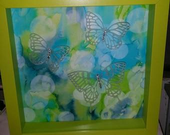 """Butterflies in Flight - Framed - 10"""" X 10"""""""