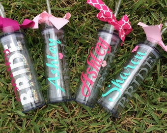 Personalized skinny Tumbler, Bridesmaid Gift, , Bridesmaid Tumbler, wedding tumbler, bridal party cup. bachelorette gift, bridal party gift
