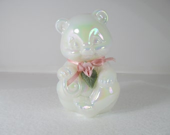 Vintage Fenton Bear Figurine with pink porcelain rose and pink ribbon. Milk Glass with a pearly iridescent sheen.