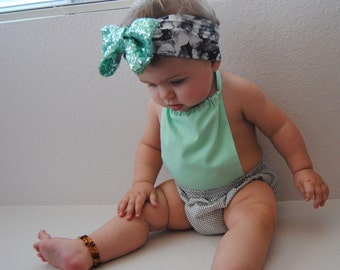Mint green and polka dot sun suit